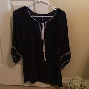 Women's peasant top in Navy and white, size small